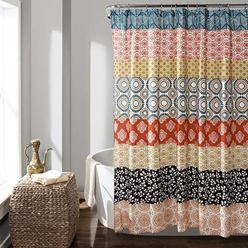 Lush Decor Bohemian Striped Shower Curtain Colorful Bold Design, 72