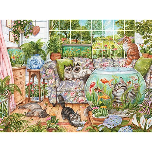 Bits and Pieces - 300 Large Piece Jigsaw Puzzle for Adults - Cat Fishing - 300 pc Fish, Flowers, Cats, Spring Jigsaw by Artist Debbie Cook