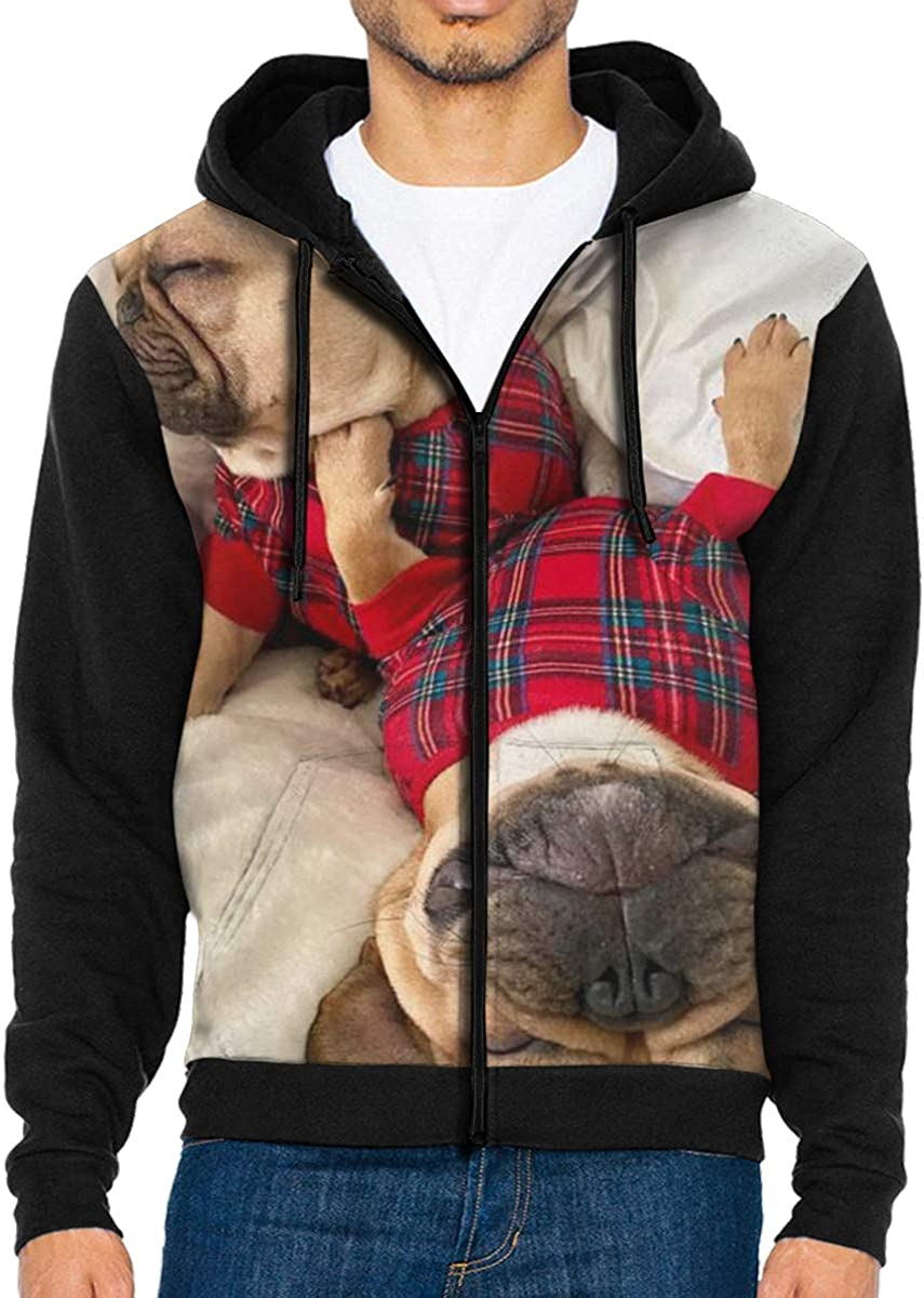 QWZXE MenFrench Bulldog Full Zip Up Hooded Sweatshirt with Pocket