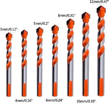 7pcs Multifunctional 3//4//5//6//8//10//12mm Drill Bits Ceramic Glass Hole Punching