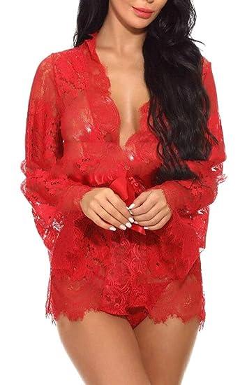 6973fa8dc4e Alion Women's Lingerie Kimono Robe Eyelash Lace Babydoll Sheer Nightwear at  Amazon Women's Clothing store: