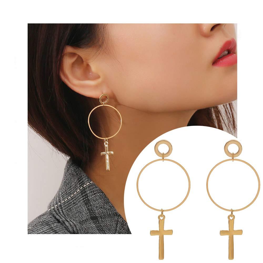 palettei Cross Dangle Hoop Earrings - Cross with Hoop Charm Tassel Dangle Earrings (B Gold)