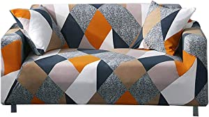 nordmiex Couch Cover Stretch Arm Chair Large Sofa Slipcover with 2 Pillowcases Leather Furniture Protector from Pet for 3-Seat Sofa, (Sofa-3 Seater,Geometric)