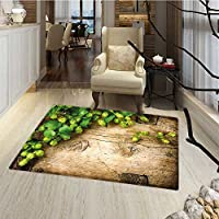 Plant Bath Mat for tub Hop Twigs on an Old and Cracked Wooden Board Fresh Picked Whole Hops Brewing Customize door mats for home Mat 18x30 Avocado Green Brown