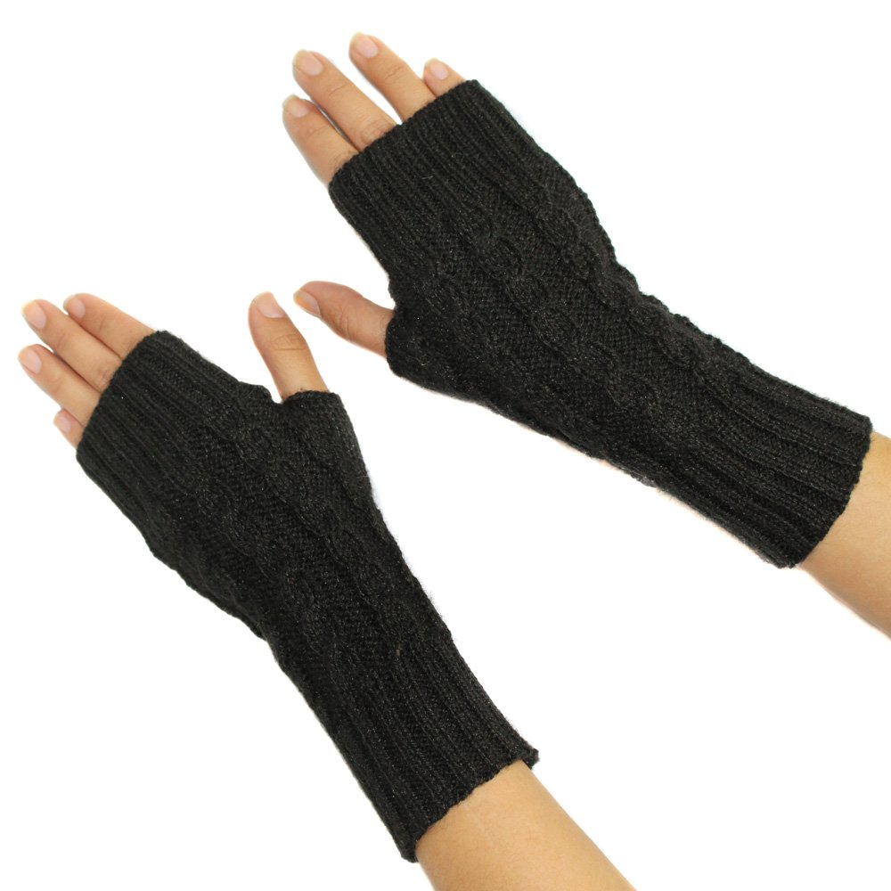 FINGERLESS MITTENS GLOVES Alpaca Wool made in PERU BLACK