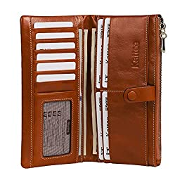 Kattee Women\'s Fashion Real Leather Zipper Wallet Card Bag Coin Case Phone Holder Brown
