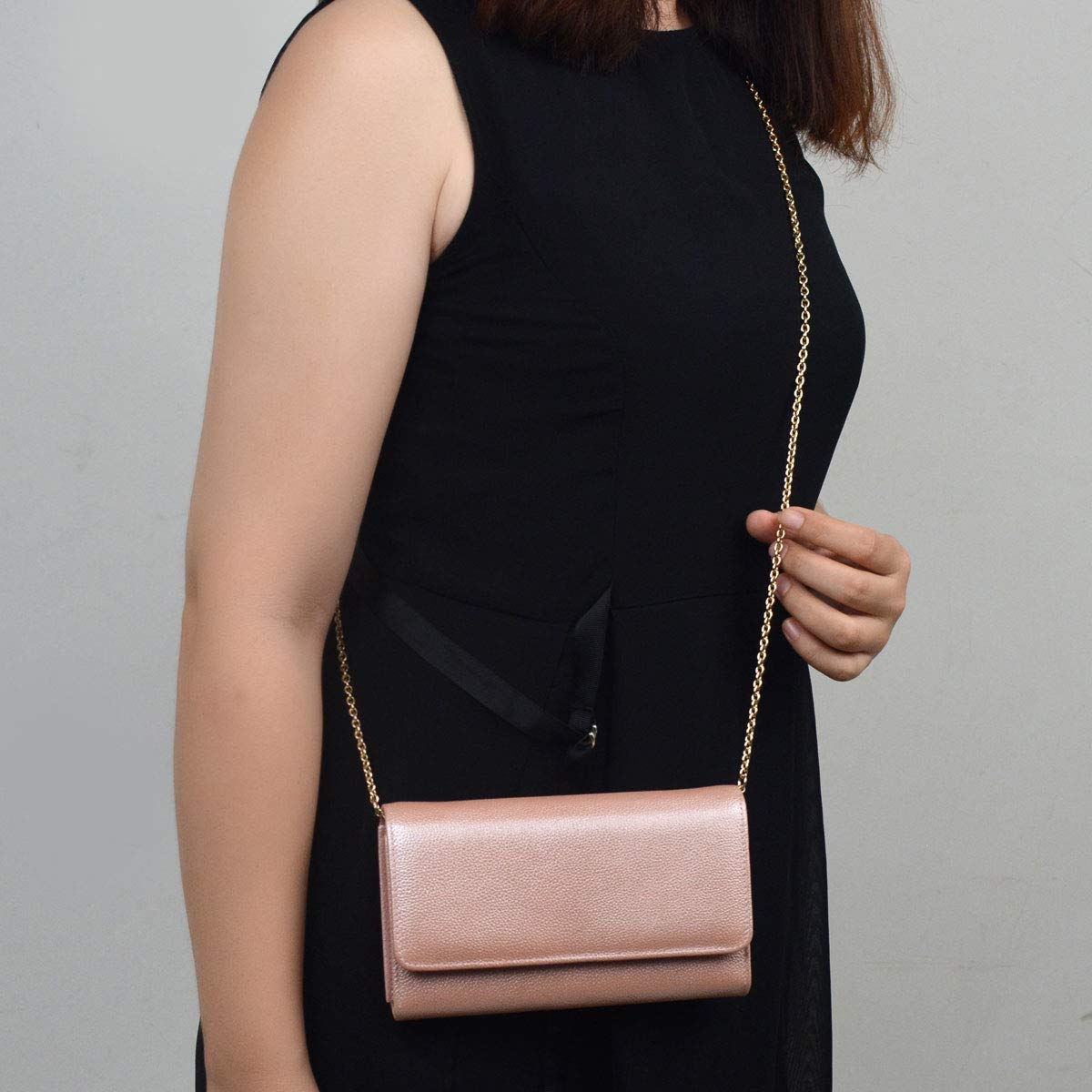 Women RFID Leather Trifold Wallet Cossbody Purse Clutch with Chain Strap (Rose Gold) by Bveyzi (Image #4)
