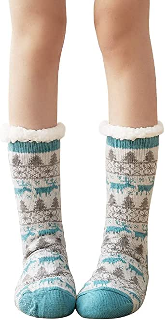 4YOUALL Womens Fleece Lining Soft Warm Fuzzy Sock, Christmas Thermal Knee High Stockings Slipper Socks
