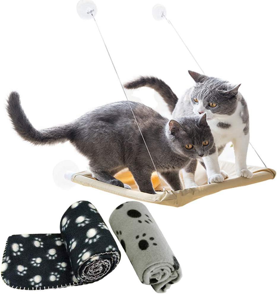 Tomkity Hamaca para Ventana de Gato + 2pz Manta Gato(Negro y Gris) Cómoda Cama Perca Mascota Soporte 15kg con Ventosas