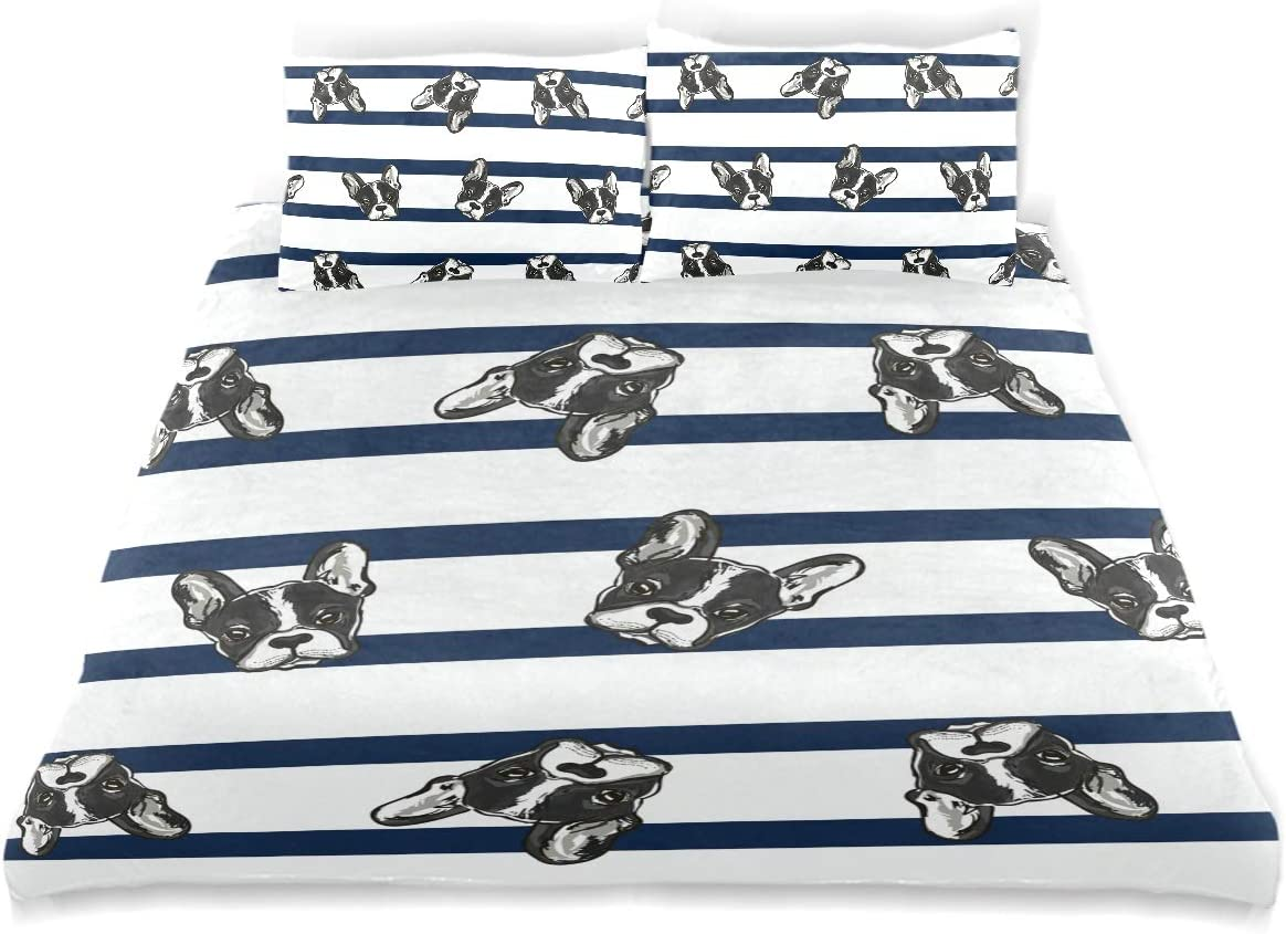B07TZP23YX FCZ Duvet Cover Set Black Corgi Dog Head Navy White Stripe 3pcs Bedding Set Children Twin Size 66x90in Modern Customize Microfiber Quilt Bedspread with 2 Pillow Shams 1 Duvet Cover 61Kqkhg5saL.SL1200_