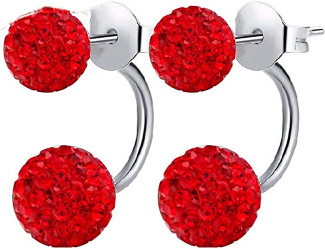 NEW RED+WHITE+BLUE+ROSE GOLD TONE STERLING SILVER CRYSTAL BALL STUD EARRINGS
