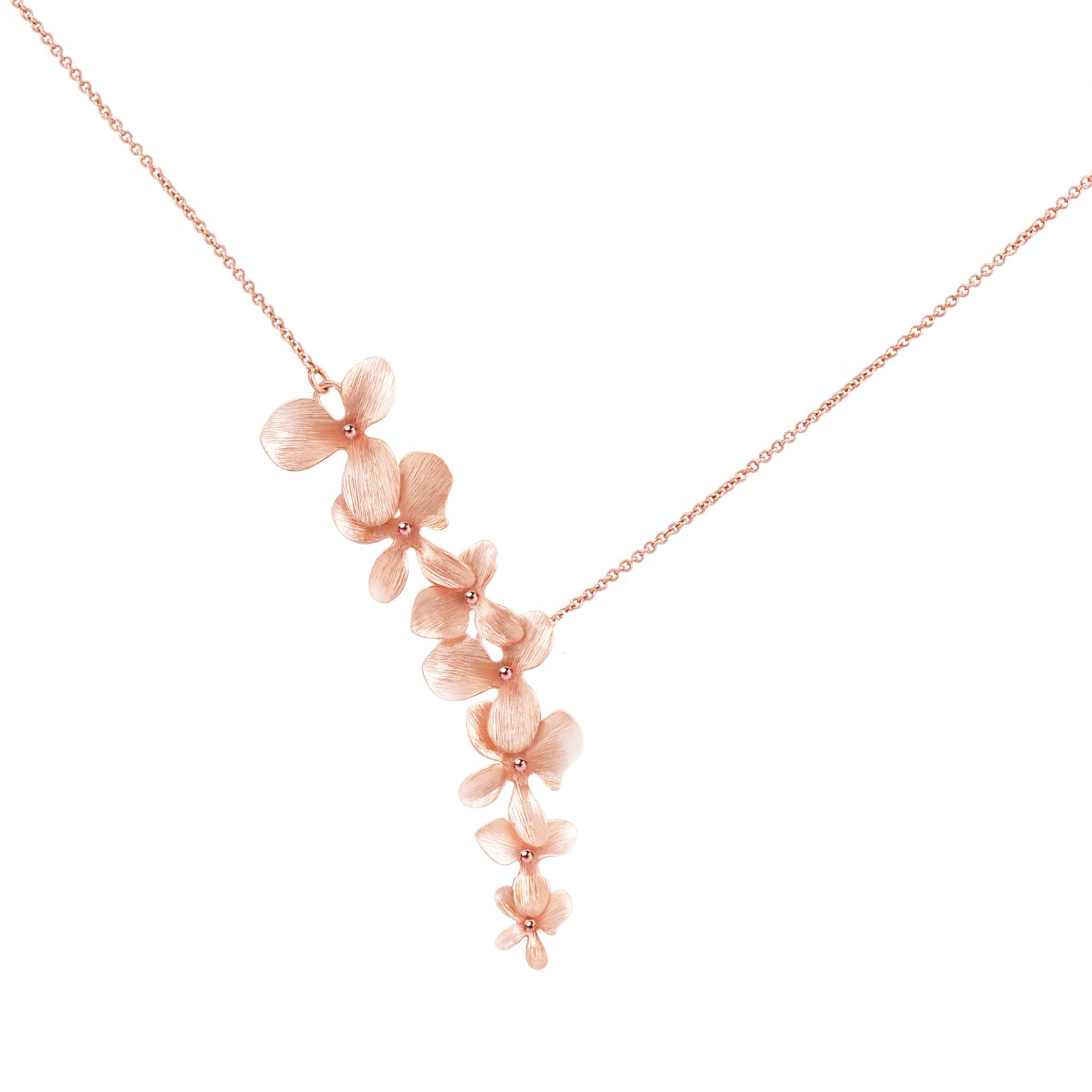 Ann Tarry 24K Rose Gold Plated Orchid Flower Necklace + Beautiful Gift Box (Rose-Gold Plated Necklace)