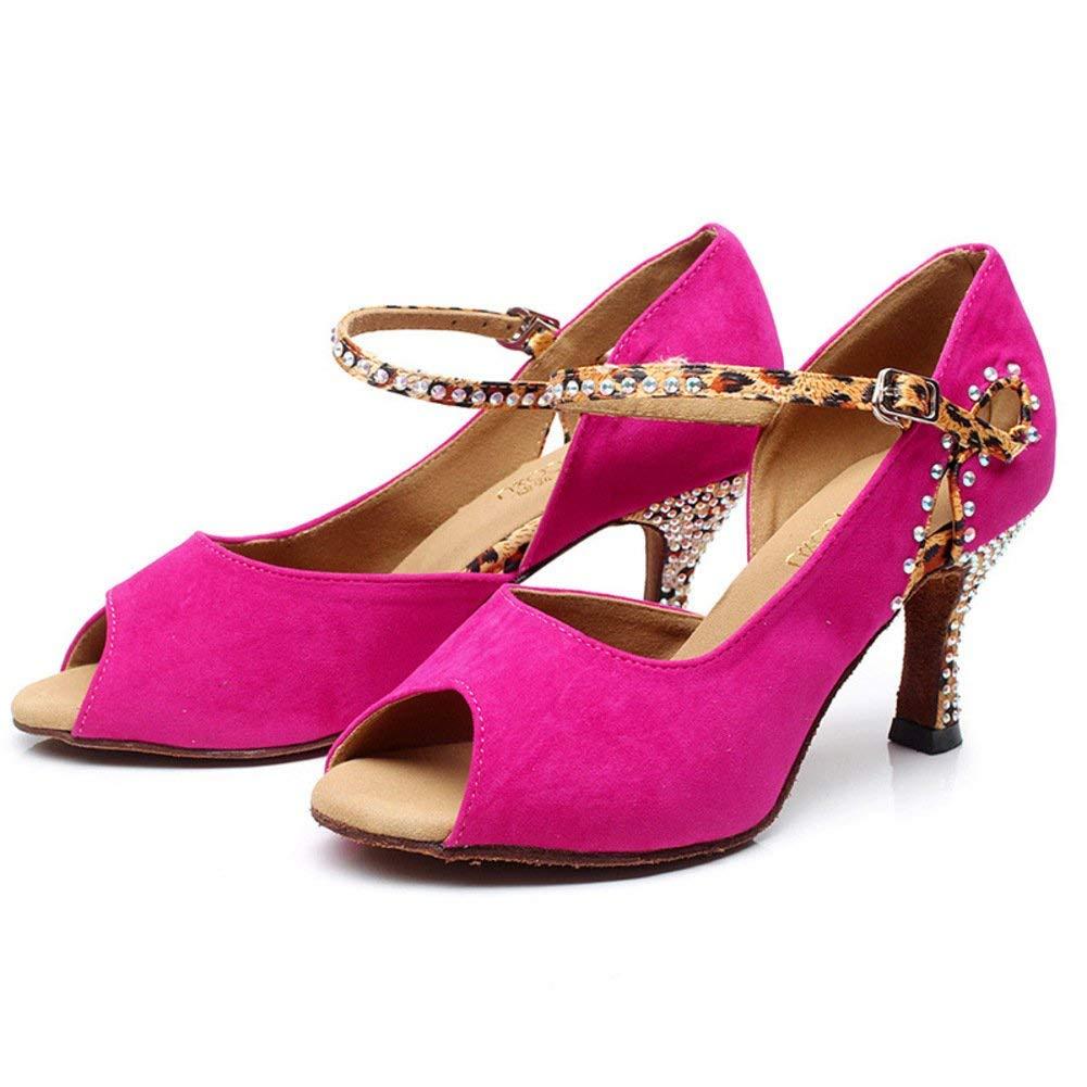 HhGold Lateinamerikanische Tanzschuhe der Frauen dünne dünne Absätze des Veloursleder-Unterseite Moderne Tanzschuhe hoher Absatz (Farbe   Rosa Rot Größe   Foot Length=24.8CM9.8Inch)