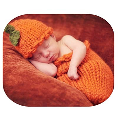 Auberllus Newborn Baby Photography Props Boy Girl Crochet Knit Halloween Cute Pumpkin Sleeping Bag Photo Shoot Outfits
