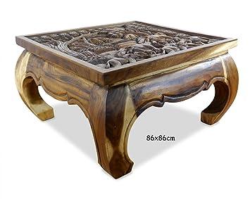 Table basse opium Table dans marron naturel avec moulure ...