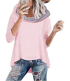 ASSKDAN Damen Mode Kapuzenpullover Rosa Hoodie Hoher Kragen Langarm  Pullover Sweatshirt Mit Kapuze - Herbst Winter 28fe23fa4b