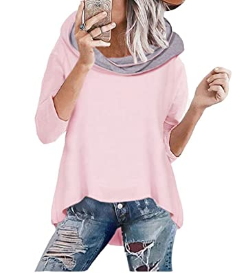 ASSKDAN Damen Mode Kapuzenpullover Rosa Hoodie Hoher Kragen Langarm Pullover  Sweatshirt Mit Kapuze - Herbst Winter ddc49746c0