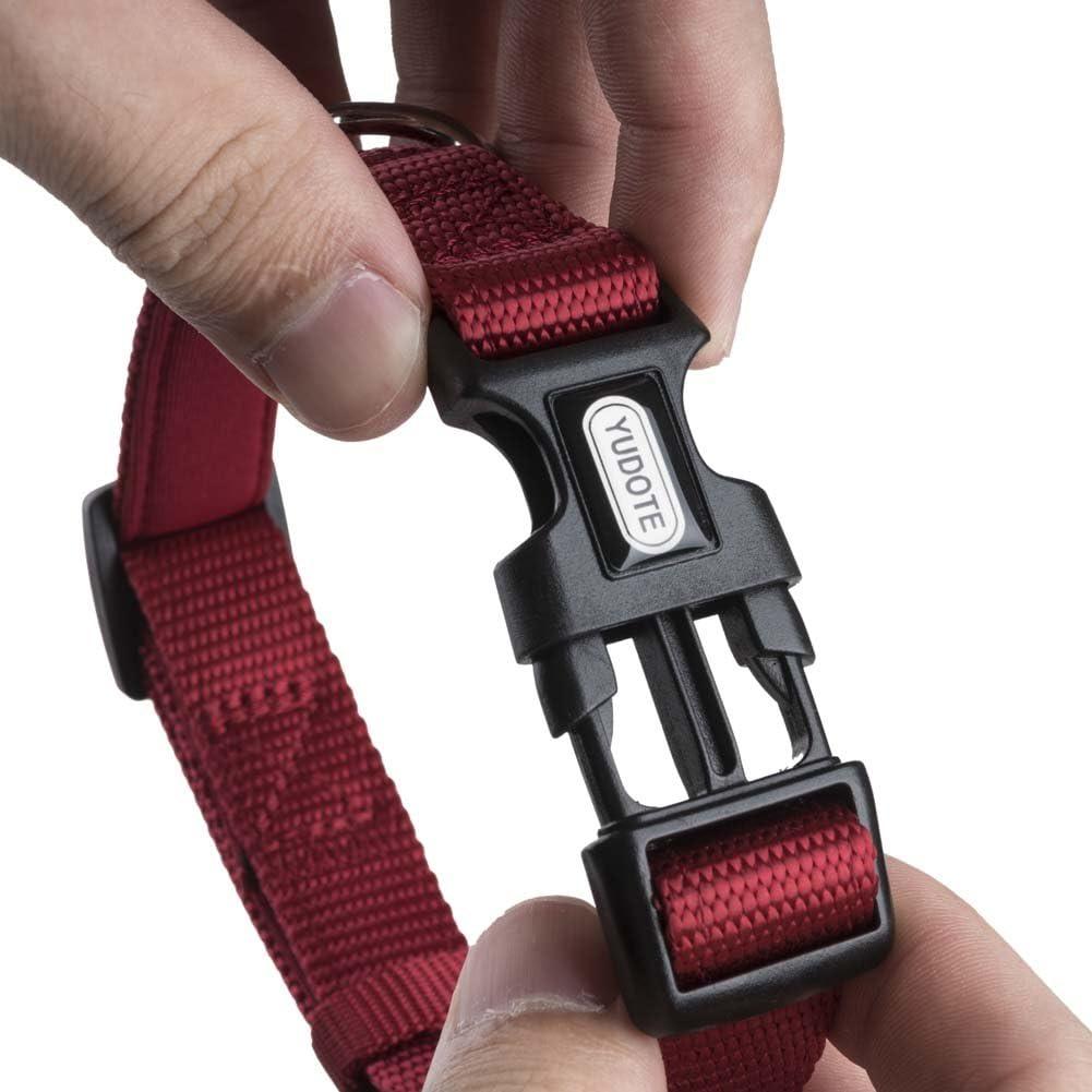 YUDOTE Adjustable Nylon Dog Collar with Soft Neoprene Padding for Puppies Small Sized Dogs Neck 25-38cm Fluorescent Orange