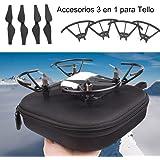 DJI Tello 3 en 1 Accesorios Bolsa de almacenamiento, Cochanvie Ultra Portátil Bolsa de mano portátil de tamaño pequeño con 4 piezas Hélices de repuesto y 4 piezas Protectores de hélice para DJI Tello Air Drone