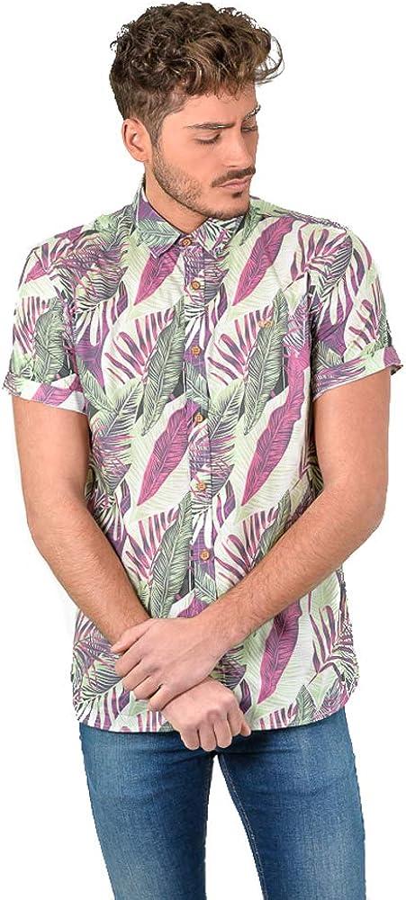 DIVARO - Camisa Estampado Hojas Manga Corta Color Burdeos - para Hombre: Amazon.es: Ropa y accesorios