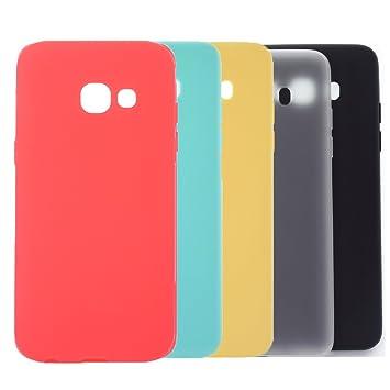 5 X Funda Galaxy A3 2017, WindTeco Carcasa Ultra Delgado Silicona TPU Gel Protector Flexible Cover Funda para Samsung Galaxy A3 2017, Rojo, Azul ...