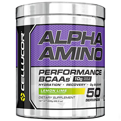Cellucor Alpha Amino EAA & BCAA Recovery Powder, Essential & Branched Chain Amino Acids Supplement, Lemon Lime, 50 Servings