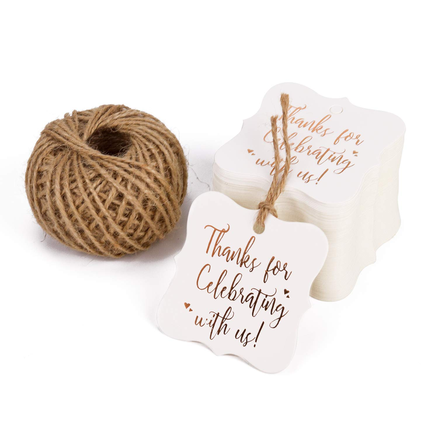 WRAPAHOLIC Gift Tags with String - 100PCS White Kraft Thank You Paper Tags with 100 Feet Natural Jute Twine for Wedding, Baby Shower, Party Favors by WRAPAHOLIC