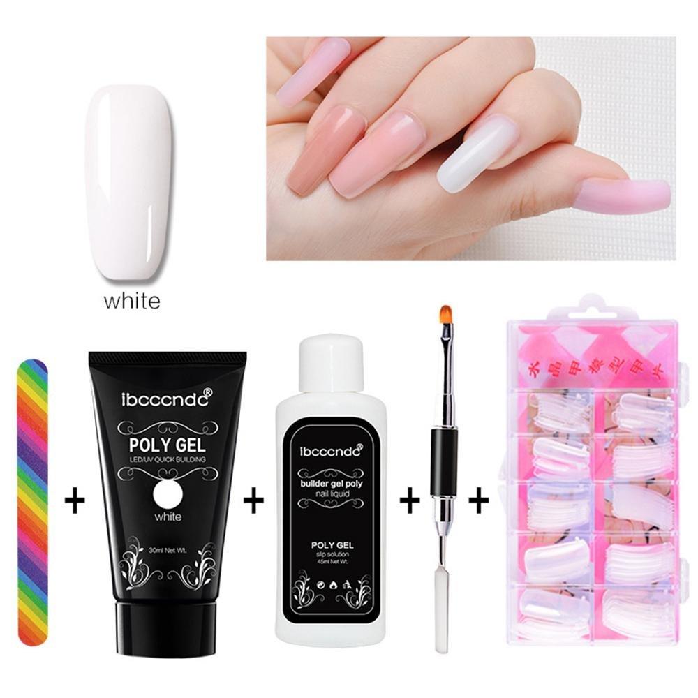 Poly-Gel-Nagelverlängerungs-Set (5Teile), Schnellaufbaugel + Nagelformer + Poly-UV-Gel-Lösung + Polygel-Nagelpinsel + Nagelfeile, Poly-Kleber-Maniküre-Werkzeug Leegoal