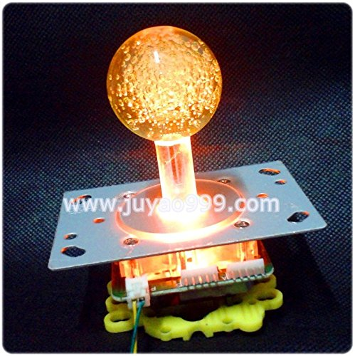 Lighted Ball Top - yellow lighted Illuminated joystick with yellow crystal bobble top ball