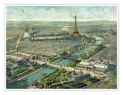 Steves Poster Store Paris Exhibition 1900 Poster Handmade Giclée Gallery Print Exposition Universelle World's Fair France Art Nouveau Aerial View Map Eiffel Tower (18x24)