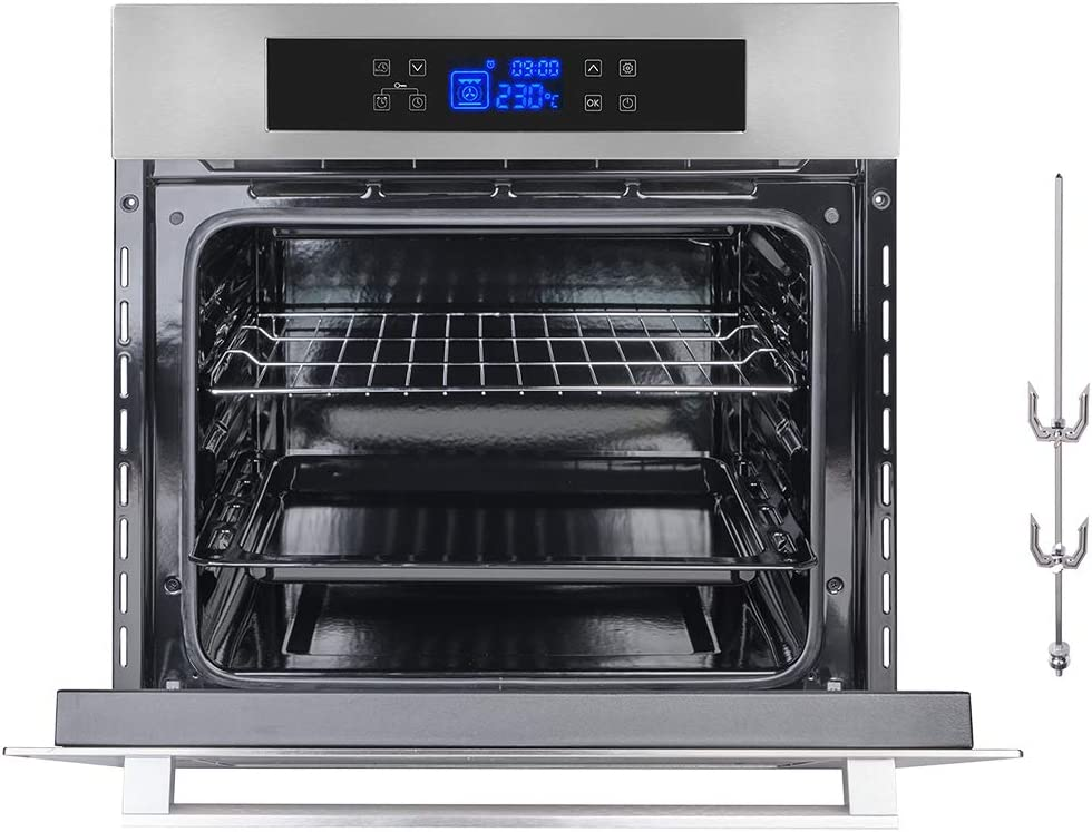 """Wall Oven, GASLAND Chef ES611TS 24"""" Built-in Single Wall Oven, 11 Cooking Function, Stainless Steel Frame With American Black Glass Electric Wall Oven, ETL Safety Certified & Full Touch Control"""