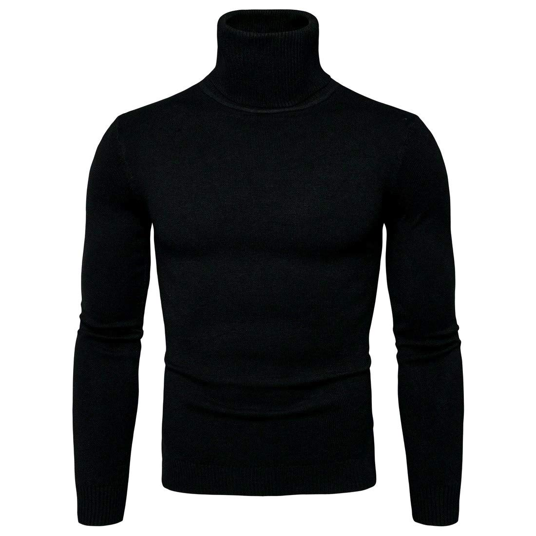 YUNY Mens Pullover Winter Knitting Turtleneck Pullover Sweater Black L