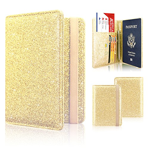 Passport Holder Cover, ACdream Travel Leather RFID Blocking Case Wallet for Passport with Elastic Band Closure, Gold Glitter