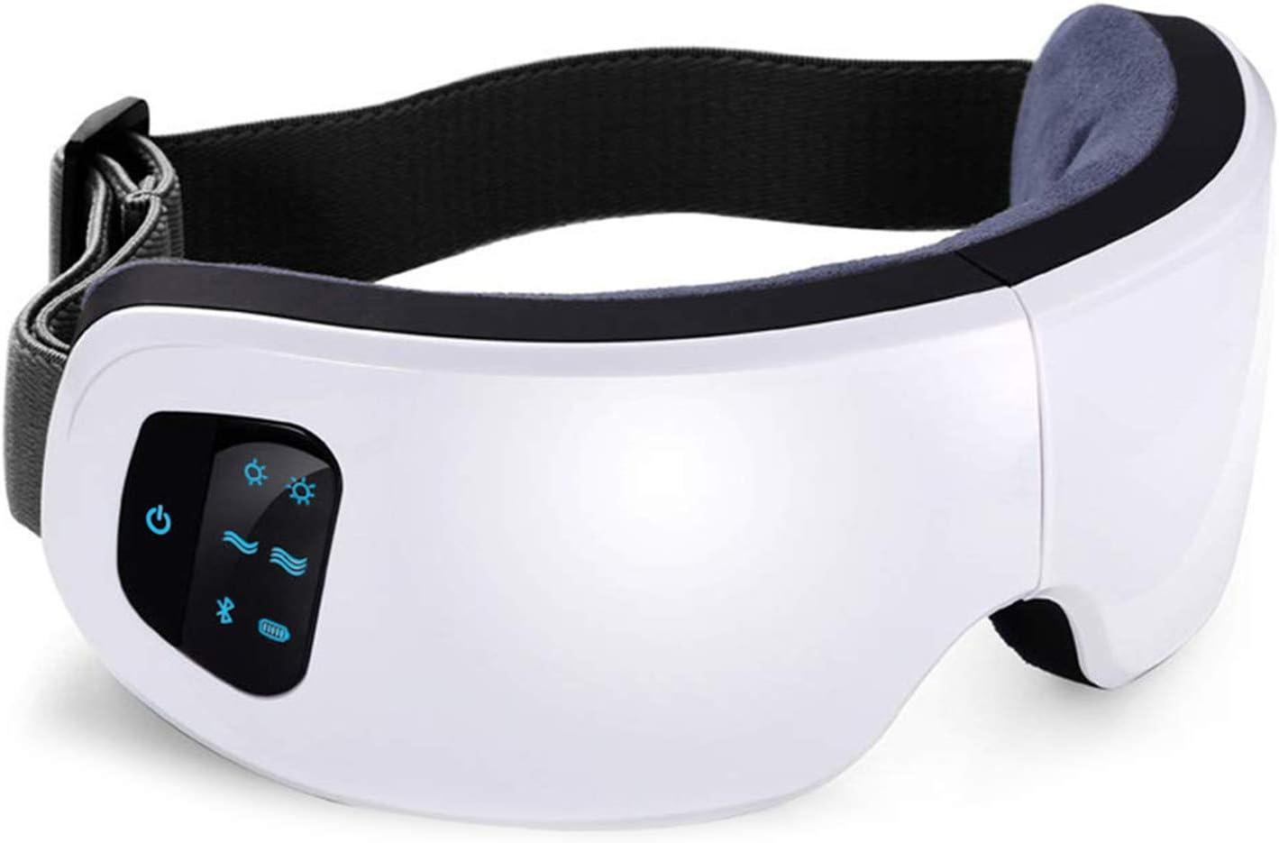 Masajeador de ojos eléctrico, FLYHANA Máscara de masaje de ojos inalámbrico recargable con Compresion de calor Presión de aire vibrante bluetooth para los bolsos del ojo, Circulos oscuros