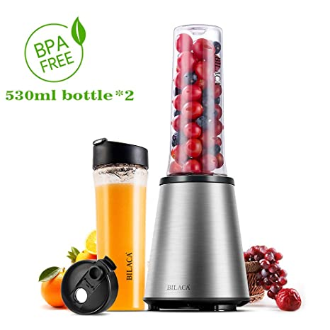 Smoothie Blender, BILACA Personal Blender Single Serve for Shakes and Smoothies,Frozen Fruit Blender With 18oz BPA-Free Sport Bottles,300W