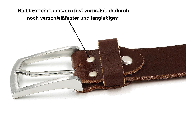 8f59572c83648a Fa.Volmer ® Braune Ledergürtel aus Büffelleder, 38mm breit und ca. 3-4mm  stark, kürzbar #Br007-02: Amazon.de: Bekleidung