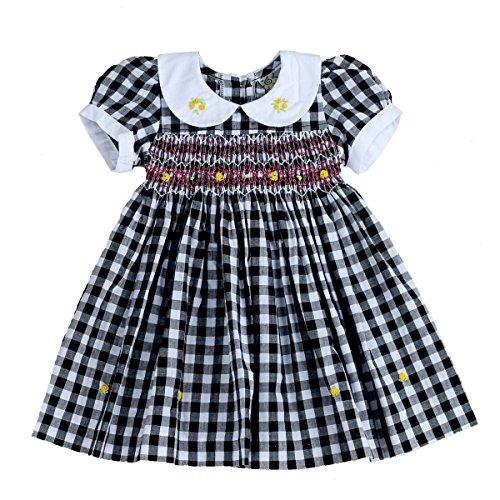 sissymini - Infant and Toddlers (12M-4T) Soft Cotton Fabric Hand Smocked Dress | Rosaline Paget's- Monochrome Plaid (Black & White, (Blk Plaid Button)