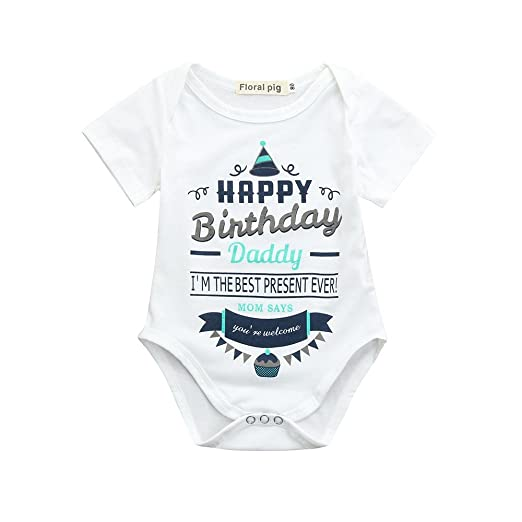 Newborn Infant Baby Boys Girls Letter Print Romper Jumpsuit Outfits Clothes Happy Birthday Daddy White