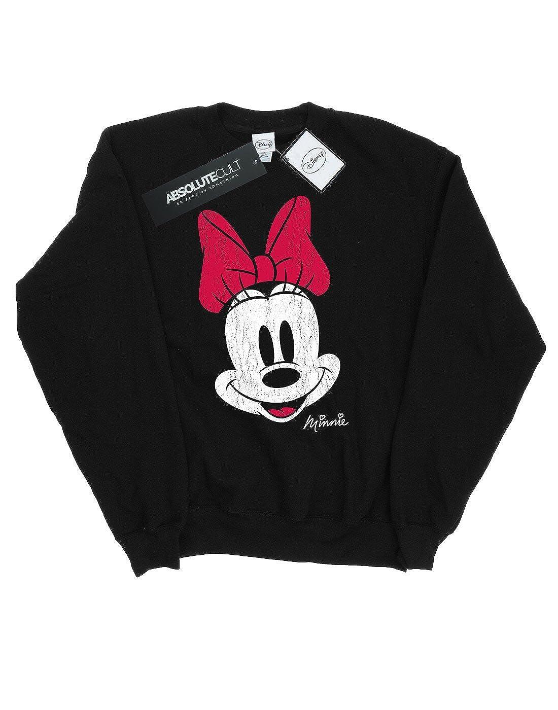 Disney Hombre Minnie Mouse Distressed Face Camisa De Entrenamiento: Amazon.es: Ropa y accesorios