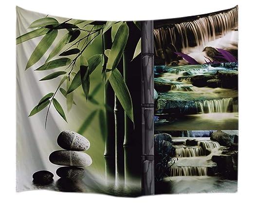 A.Monamour Tapices Naturaleza Paisaje Cascada Bambú Piedras Rocas Imprimir Yoga Zen Meditación Decoración Tela Tapiz Colgante Decoraciones para ...