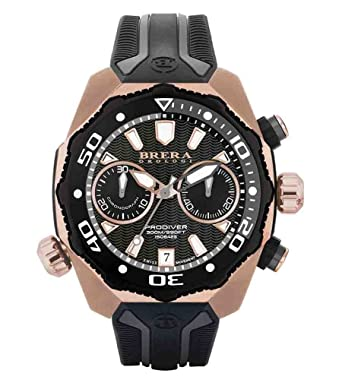 3fb8de00955 Amazon.com  Brera Orologi Men s ProDiver Rose Gold Black   White ...