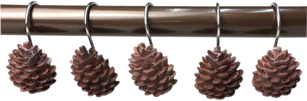 Grace life Set of 12 Pinecone Shower Curtain Hooks Bathroom Rolling Hangers Curtain Sliding Hooks Resin Pothook