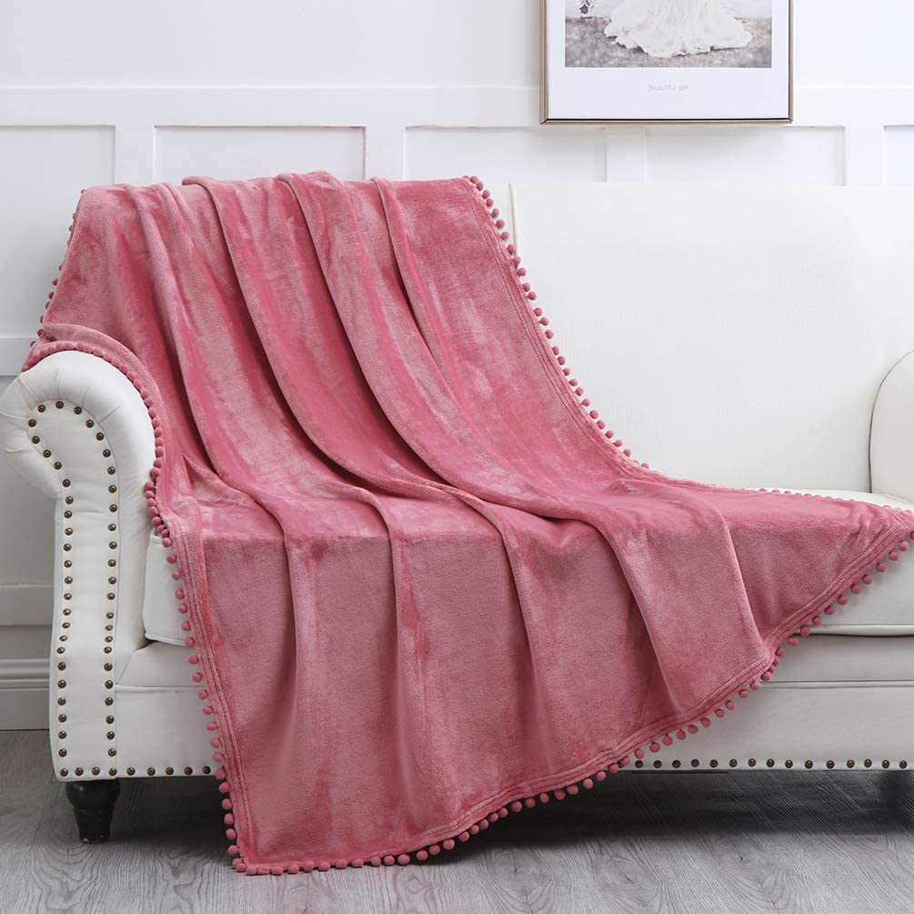"""NordECO HOME Flannel Throw Blanket - Soft Cozy Warm Blanket with Pompom Fringe for Couch Bed Sofa Chair, 50"""" x 60"""", Mauve"""