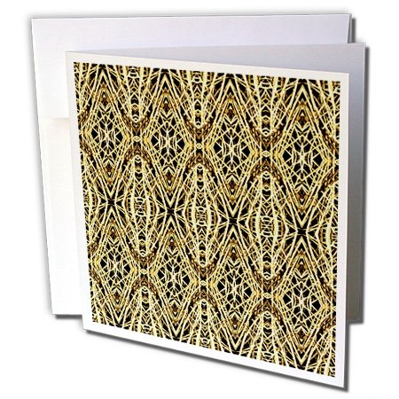 3dRose Costasonlineshop Pattern Diamond - Beige Gold Yellow Diamond Baroque Pattern - 12 Greeting Cards with envelopes (Gold Lozenge)