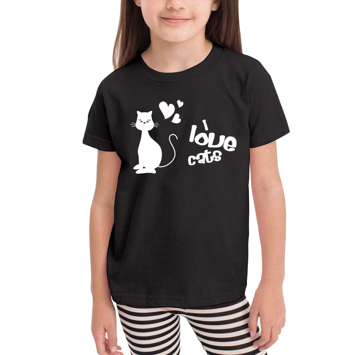 Toddler Boys Girls Kids Cute Tops I Love Cats Print Short Sleeve Fashion Black T Shirt Blouse