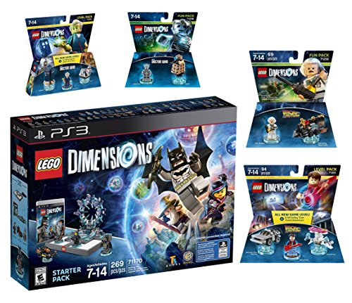 Lego Dimensions Time Traveler Starter Pack + Doctor Who Level Pack + Cyberman Fun Pack + Back To The Future Marty McFly Level Pack + Doc Brown Fun Pack for Playstation 3 PS3 Console by WB Lego