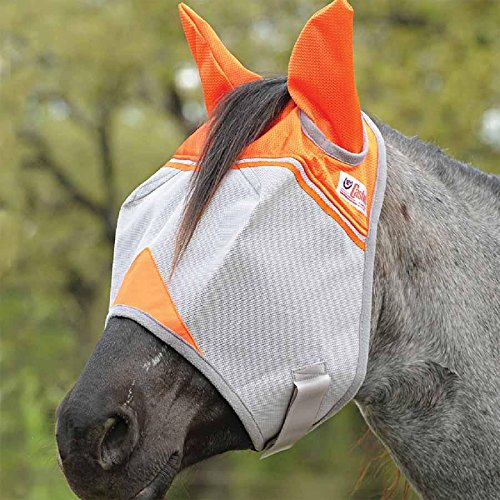 Cashel Crusader Standard Fly Mask with Orange Ears, Animal Rescue Benefit - Size: Warmblood by Cashel (Image #1)
