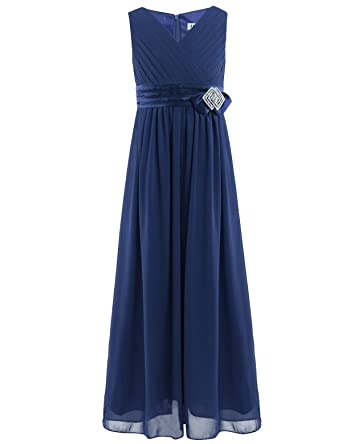 1355bef204906 iiniim Longue Robe Princess Broche Cristal Fille Enfant en Col V Mousseline  Robe Noeud Papillon pour