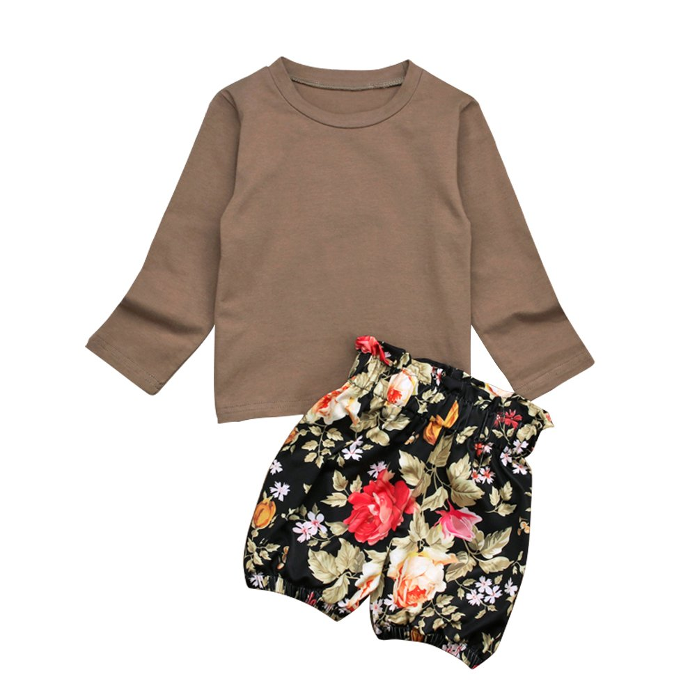HBER 2-7T Toddler Baby Little Girls Spring Fall Clothes Long Sleeve T-Shirt Tops Floral Ruffles Shorts Outfits Sets