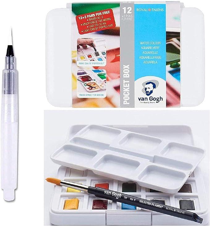 Estuche Pocket Box 12+3 Acuarela Van Gogh + 1 Pincel + Pincel de Reserva de Agua: Amazon.es: Juguetes y juegos